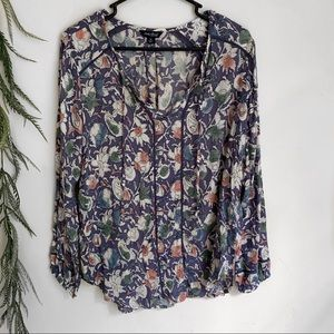 Lucky Brand floral longsleeve peasant top